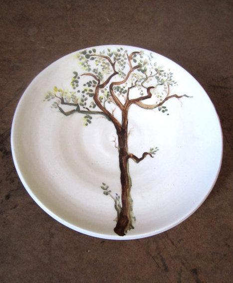 white tree plate, ceramic, handpainted, decorative, functional | Good stuff to get | Scoop.it