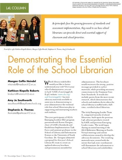 Demonstrating the Essential Role of the School Librarian - Knowledge Quest - AASL | KV' Professional Development | Scoop.it