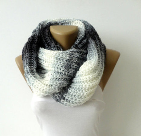 infinity knitted women scarf men scarf - loop scarf - scarves - Knitting circle soft scarf fashion accessory , seno | Winter Fashions | Scoop.it