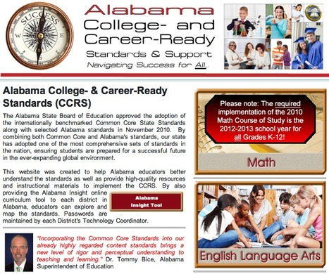 Alabama College and Career Ready Initiative (Alabama Common Core Standards): ALSDE | Common Core State Standards: Resources for School Leaders | Scoop.it