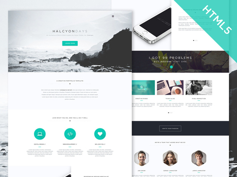"""Freebie: """"Halcyon Days"""" One Page Website Template 