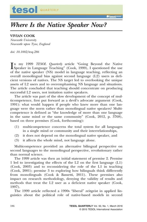 Where Is the Native Speaker Now? - Cook - 2015 - TESOL Quarterly | Applied linguistics and knowledge engineering | Scoop.it