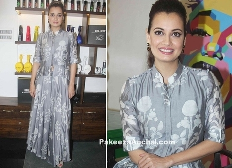 Dia Mirza in Grey colored light weight Outfit by Myoho | Indian Fashion Updates | Scoop.it