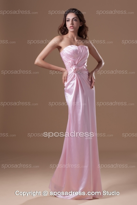 Pretty Long A-line Strapless Elastic Satin Pink Bridesmaid Party Dress - Sposadress.com | Fashion Dresses Online | Scoop.it