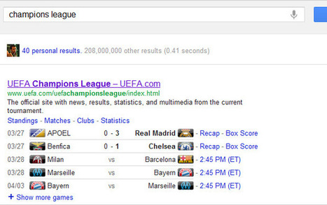 Google Shows UEFA Champions League Matches And Results - Featured, Google, News | Everything from Social Media to F1 to Photography to Anything Interesting | Scoop.it