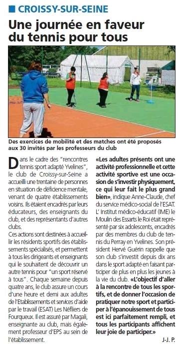 Au TCCS le tennis adapté est un vrai enjeu pour le club | Croissy sur Seine | Scoop.it