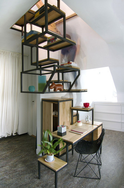 Suspended staircase combined with desk and storage by Mieke Meijer | Home, cool home | Scoop.it