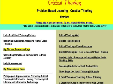 Tons of Resources for Teaching Critical Thinking to Your Students ~ Educational Technology and Mobile Learning | Technology in Educaton | Scoop.it