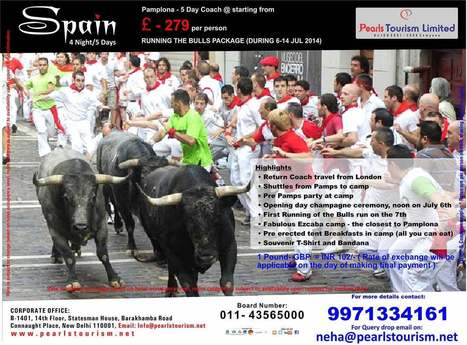 SPAIN:PAMPLONA COACH BULL & BEACH COMBO | International Tour & Holiday Packages from Delhi,  India. Book World Honeymoon Tour Packages at Pearlstourism.net | Scoop.it