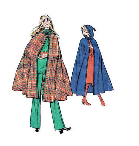 Retro Boho Hippie Style Long Cape McCall's Sewing Pattern Size Large Hooded Poncho Opera Coat | Vintage Sewing Patterns | Scoop.it