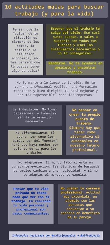 » 10 malas actitudes para buscar #empleo #infografia | redes sociales | Scoop.it