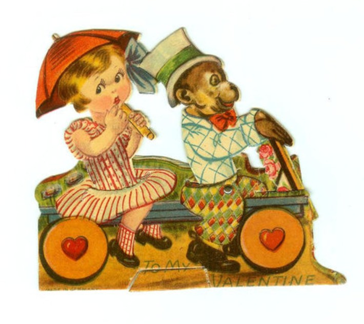Vintage Die-Cut Mechanical Valentine's Day Card Girl & Monkey Circus Style Made In Germany 1930s | Antiques & Vintage Collectibles | Scoop.it