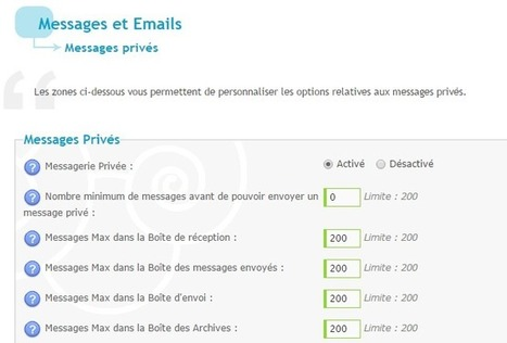 Augmentation du nombre maximum de messages privés dans la messagerie | Forumactif | Scoop.it