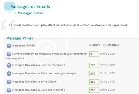Augmentation du nombre maximum de messages privés dans la messagerie | Forumactif | Scoop.it