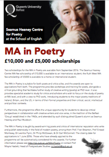 Seamus Heaney Centre for Poetry: £10,000 and £5,000 scholarships available for an international student to undertake Poetry MA | The Irish Literary Times | Scoop.it