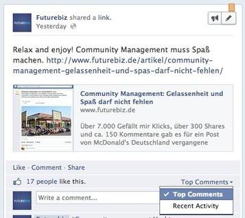 Kommentare auf Facebook Seiten erhalten Sortierfunktion | Social Media Consulting | Scoop.it