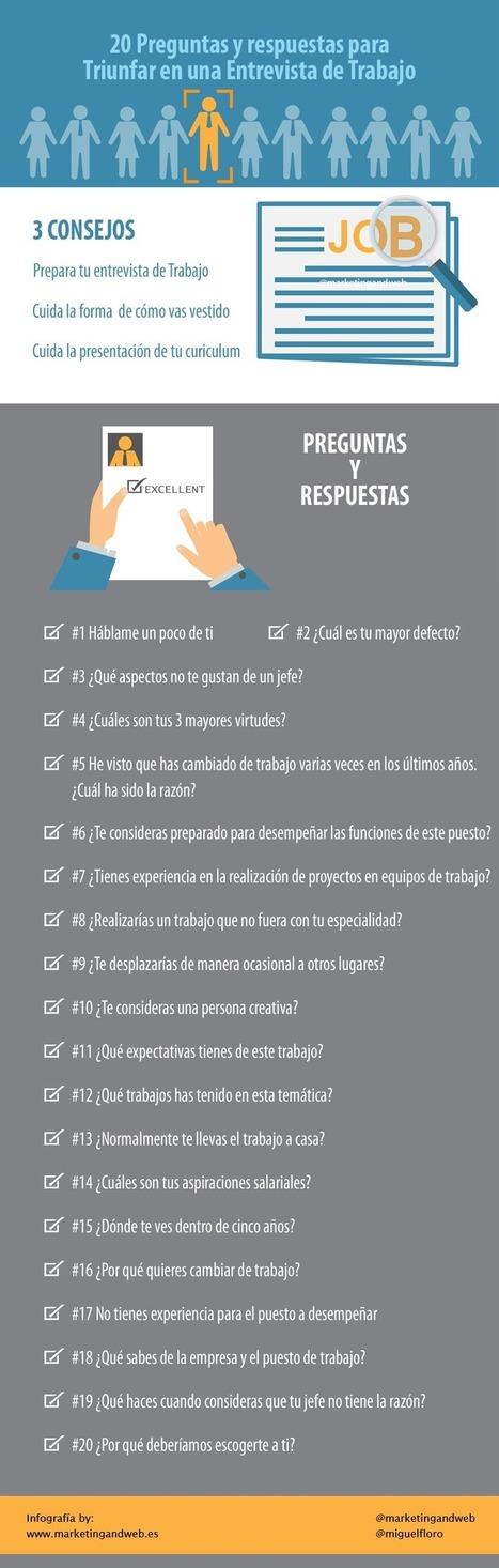 20 preguntas clave para una Entrevista de Trabajo #infografia #infographic #empleo #rrhh | RRHH | Scoop.it