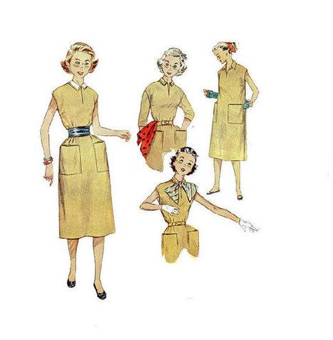 50s Sewing Pattern Simplicity 4365 One Piece Dress Pullover Cummerbund Waist Detachable Collar Retro School Girl Slit Neck Uncut FF Bust 30 | Vintage Sewing Patterns | Scoop.it