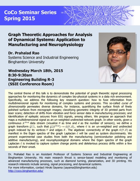 Next CoCo Seminar by Prahalad Rao on March 18th | Center for Collective Dynamics of Complex Systems (CoCo) | Scoop.it