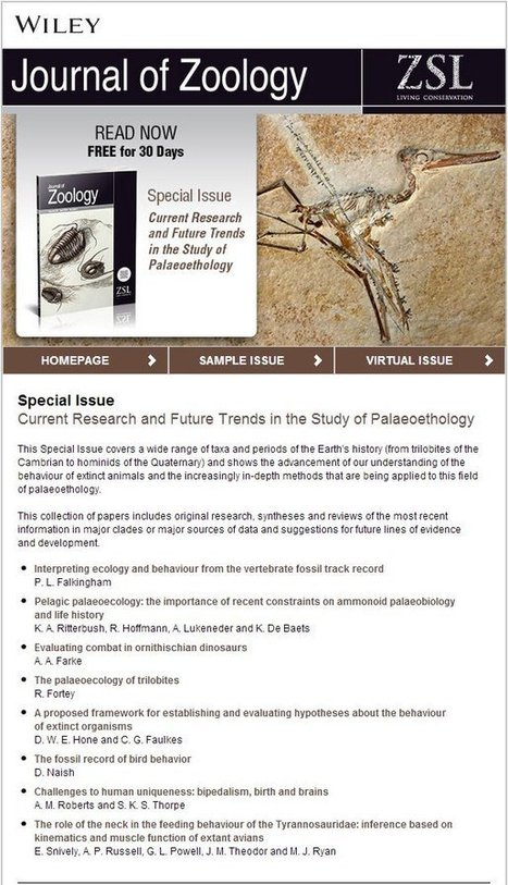 The Journal of Zoology special issue on paleobehavior is free for the ... | Test | Scoop.it