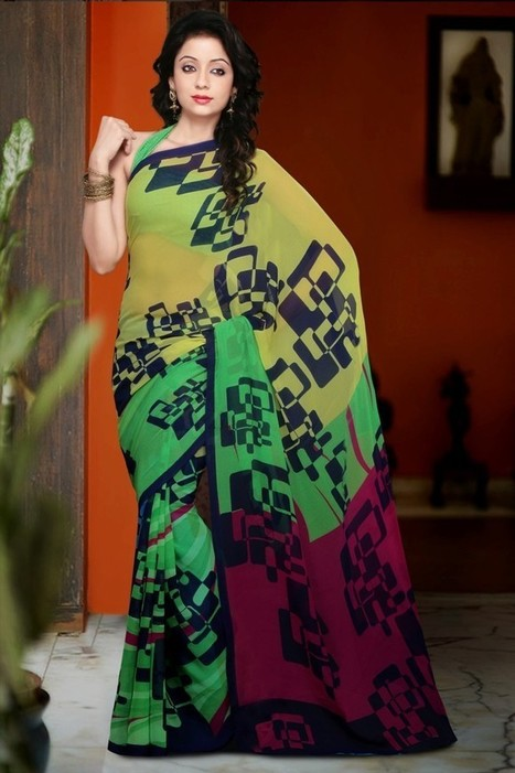 Gravity Fashion - Mesmerizing Emerald Green, Gold Color & Pink Printed Saree | If loving Fashion is a Crime, We Plead Guilty | Scoop.it