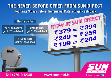 Sun Direct Cash Back Offers for DTH Recharges | Dish TV Service Providers in India | Scoop.it