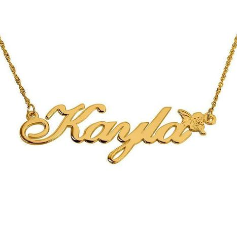 14K Gold Alegro Name Necklace with Angel | Jeweleen - Dazzling Fashion Jewelry | Scoop.it