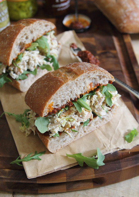 #HealthyRecipe // Garlic yogurt chicken salad sandwich with sun dried tomato spread | The Man With The Golden Tongs Goes All Out On Health | Scoop.it