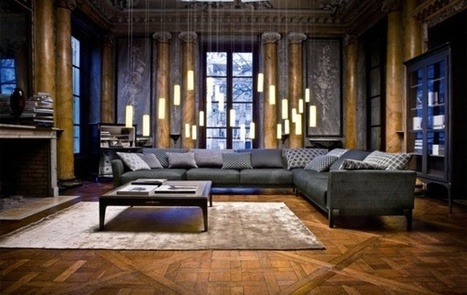 Use a leather sofa for luxurious living room ideas by Roche Bobois | Designinggal | interior design inspirations | Scoop.it