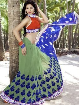 Light Green And Blue Color Net Bridal Saree SDP5023 - $61.00 | Bridal Sarees , Lahenga Sarees Collection | Scoop.it