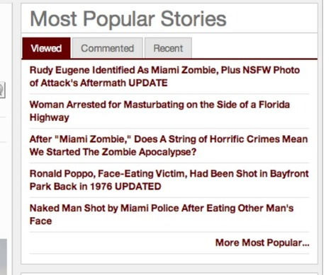 """Top 5 Stories at Miami New Times: 4 on """"Miami Cannibal,"""" 1 about woman masturbating on Florida highway 