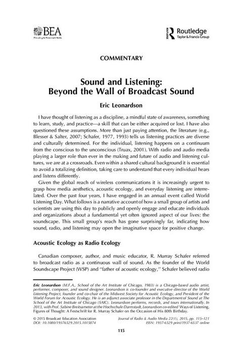 Sound and Listening: Beyond the Wall of Broadcast Sound | DESARTSONNANTS - CRÉATION SONORE ET ENVIRONNEMENT - ENVIRONMENTAL SOUND ART - PAYSAGES ET ECOLOGIE SONORE | Scoop.it