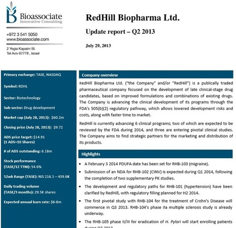 RedHill Biopharma Ltd: Q2 2013 Update Report Bioassociate Life Science & Biotech Consulting   Bioassociate Reports   Scoop.it