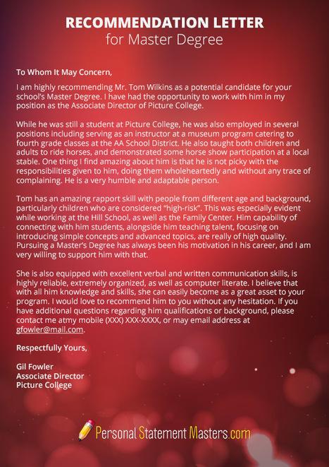 recommendation letter for master degree sample