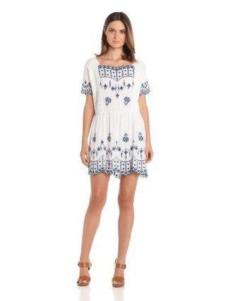 Twenty8Twelve Women's Poupee Embroidered Linen Short Sleeve Dress | Summer Dresses | Scoop.it