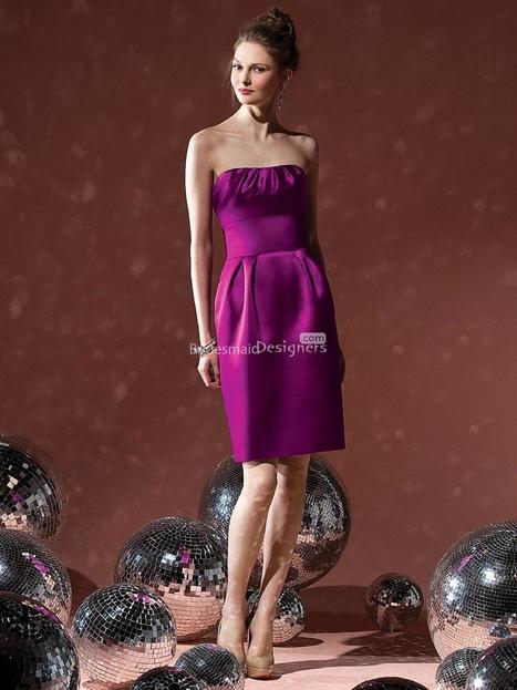 Exclusive Violet Sleeveless Knee Length Sheath Pleated Satin Bridesmaid Dress | Designer Bridesmaid Dress 2014 | Scoop.it