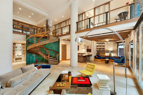 "Remarkable TriBeCa Loft in NY ""Orbiting"" Around a Massive Stairway 