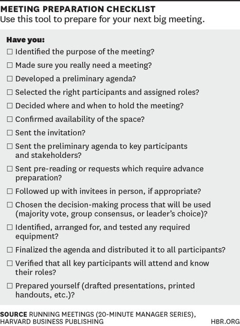 A Checklist for Planning Your Next Big Meeting   New Leadership   Scoop.it