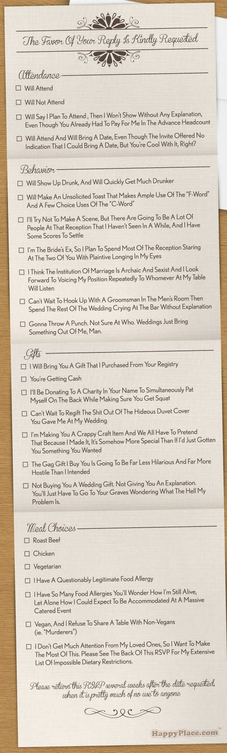 10 Hilarious RSVP Cards | Strange days indeed... | Scoop.it
