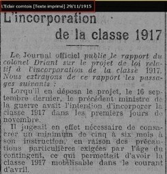 L'incorporation de la classe 1917 … | GenealoNet | Scoop.it