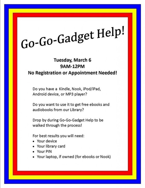 Free eBook Help on March 6th | Coffee County Manchester Public Library | Tennessee Libraries | Scoop.it