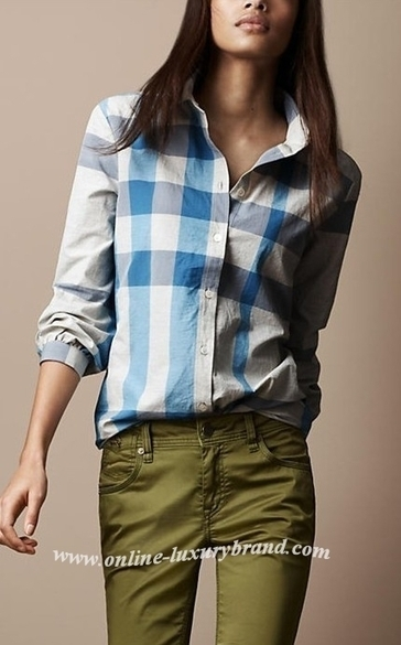 Burberry Lady Check Shirt Blue [B006295] - $100.00 : Burberry Outlet Stores,Burberry Outlet Online,Cheap Burberry For Sale | Burberry | Scoop.it