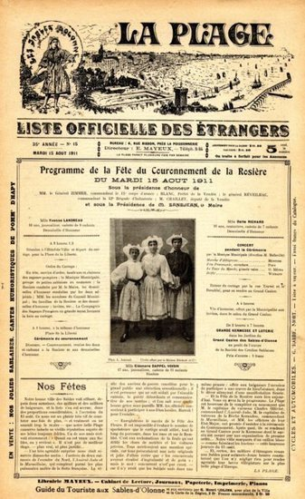 Archives municipales : Le journal la plage (1876-1924) consultable en ligne sur le site de la ville des Sables | L'écho d'antan | Scoop.it