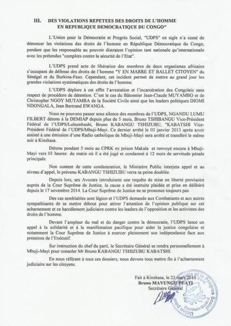 DECLARATION POLITIQUE DE L'UDPS DU 23/03/2015 | EUGENE DIOMI NDONGALA, PRISONNIER POLITIQUE EN RDC | Scoop.it