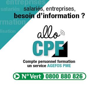 Lancement d'Allo CPF, un nouveau service AGEFOS PME - France | Culture Mission Locale | Scoop.it