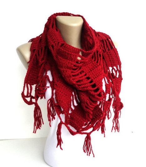Valentines Day Gift ,red scarf ,shawl ,crocheted neckwarmer Womens Fashion | scarf | Scoop.it