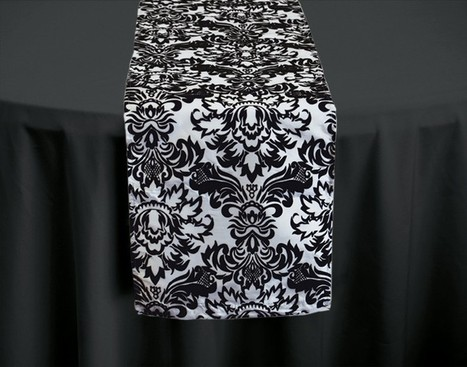 Black and white damask white table runner - Wholesale Wedding Chair Covers | Whole Sale Wedding Chair | Scoop.it