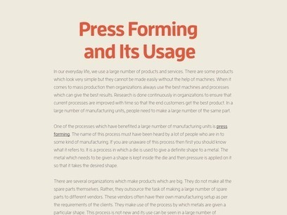 Press   Forming and Its Usage by BW Industries | BW Industries | Scoop.it