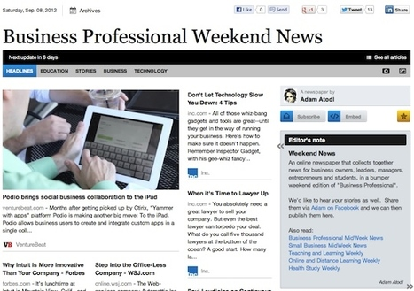 Sept 8 - Business Professional Weekend News | Business Updates | Scoop.it