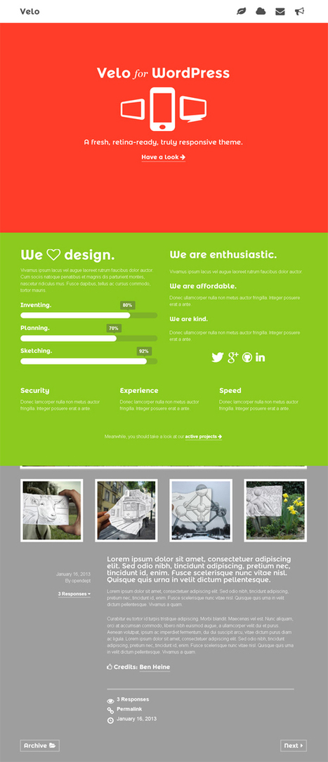 Velo, WordPress Responsive Portfolio Theme | WP Download | am yea | Scoop.it